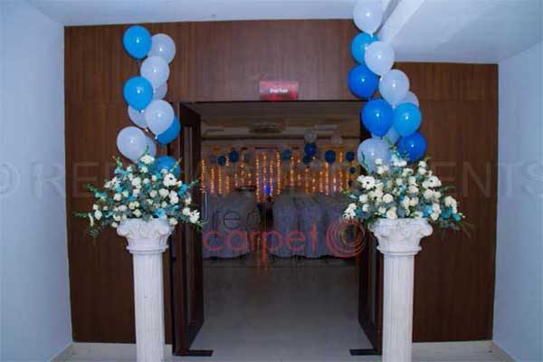 welcome arch floral blue & white  theme -Birthdays and Baptism planning by Red Carpet Events at NM county kochi kerala India Wedding Planning Gallery