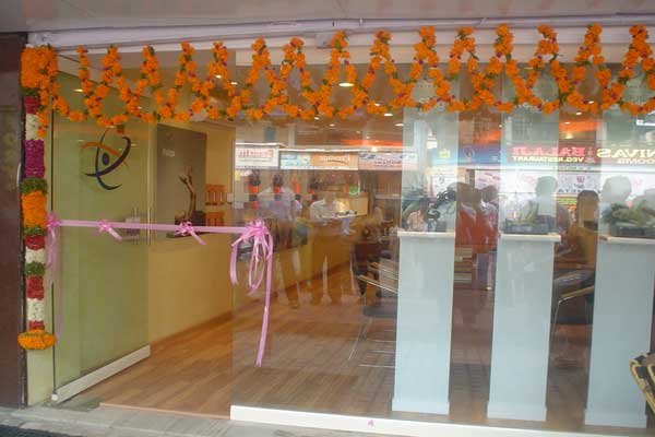Marigold decor for shop inauguration