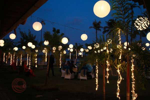 mirchi & paper balls hanging lighting decor