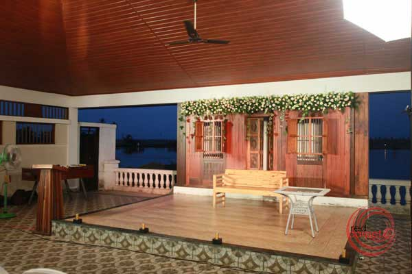 nikah reception stage decor pool side