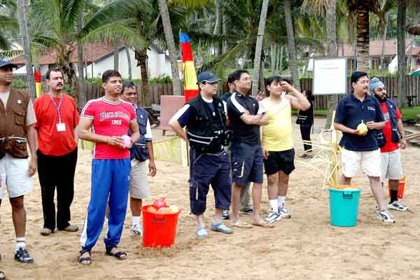 Water balloons -Team Building by Red Carpet Events at hotel samudra Kovalam kerala India Corporate Events Gallery