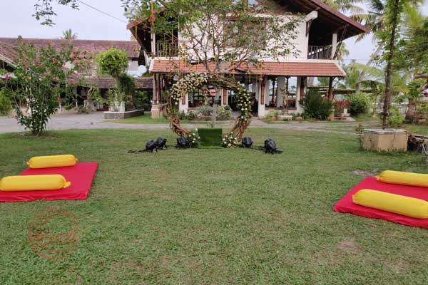 lawn seating with bolster pillows mehndi night