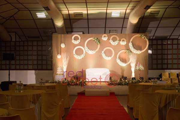 off white Jute betrothal stage decor