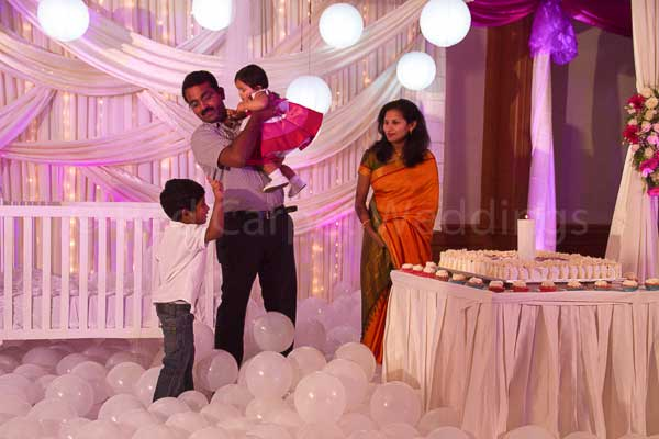 Pink & white theme stage decor -Birthdays and Baptism planning by Red Carpet Events at hotel radisson blu kochi kerala India Wedding Planning Gallery