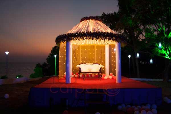 beach wedding reception stage decor
