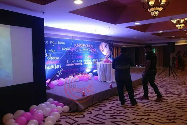 backdrop with projection screen -Birthdays and Baptism planning by Red Carpet Events at radisson blu kochi kerala India Wedding Planning Gallery