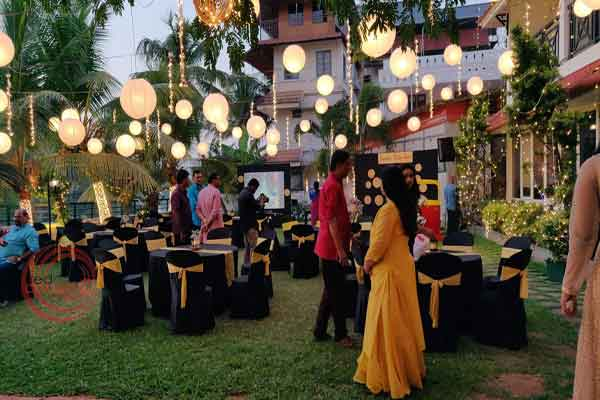lawn seating black & gold theme -Birthdays and Baptism planning by Red Carpet Events at aquaria resort kochi kerala India Wedding Planning Gallery