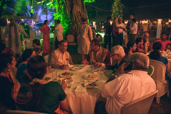 dinner at the lawn for sangeet night -Destination wedding by Red Carpet Events at punnamada resort alappuzha kerala India Wedding Planning Gallery