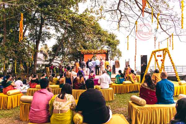 yellow theme decor at lawns with marigold flower