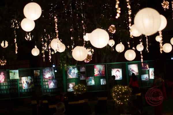 hanging Chinese lanterns and mirchi lights lighting decor