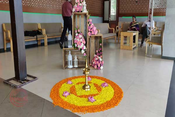 entrance decor with pookkalam
