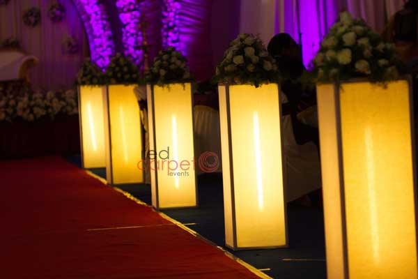 lighted walk way decor stands