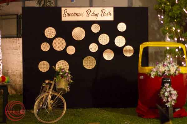 polka dots photo booth with classic props