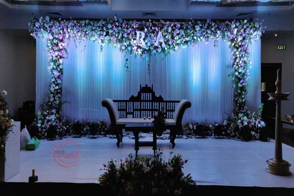 white & green reception stage