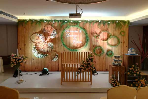 rustic theme with flower wheels -Birthdays and Baptism planning by Red Carpet Events at whispering waters resort kodanad kochi kerala India Wedding Planning Gallery