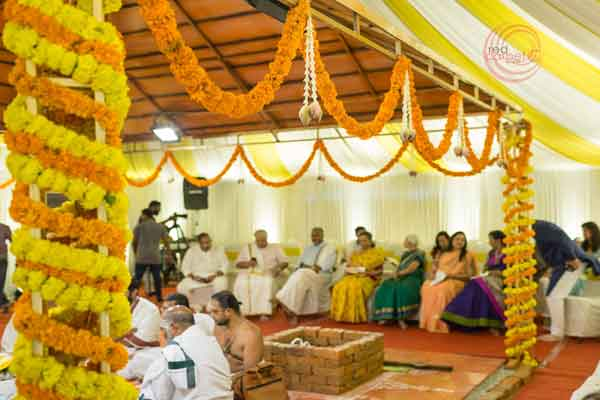 yaga shala decor with marigold flower -shashtipoorthi by Red Carpet Events at coimbatore palakkad India Wedding Planning Gallery