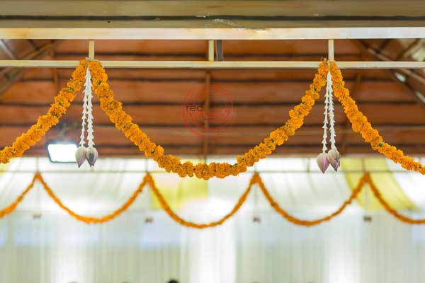marigold hanging decor -shashtipoorthi by Red Carpet Events at palakkad coimbatore kerala tamilnadu India Wedding Planning Gallery