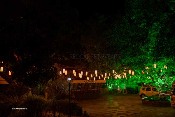 lawn decor with cylindrical hangings -Lighting by Red Carpet Events at kochi kottayam kerala India Wedding Planning Gallery