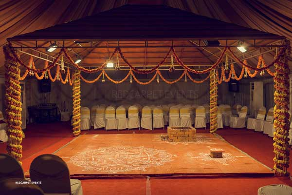 yaga shala marigold flower decor -shashtipoorthi by Red Carpet Events at indraprastha palakkad kerala India Wedding Planning Gallery
