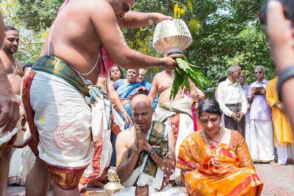 brahmin ritual the couple blessed with holy water -shashtipoorthi by Red Carpet Events at palakkad kochi kerala India Wedding Planning Gallery
