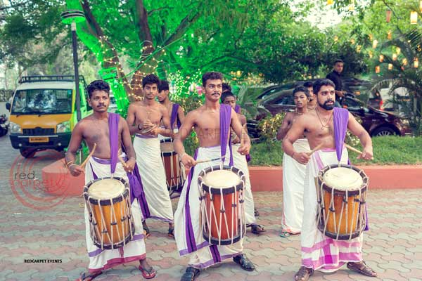 kerala traditional drummers to welcome guests -shashtipoorthi by Red Carpet Events at indraprastha palakkad kerala India Wedding Planning Gallery