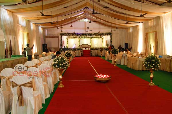 walkway carpeting with floral decor -Christian wedding planning by Red Carpet Events at thiruvalla pala kottayam kerala India Wedding Planning Gallery