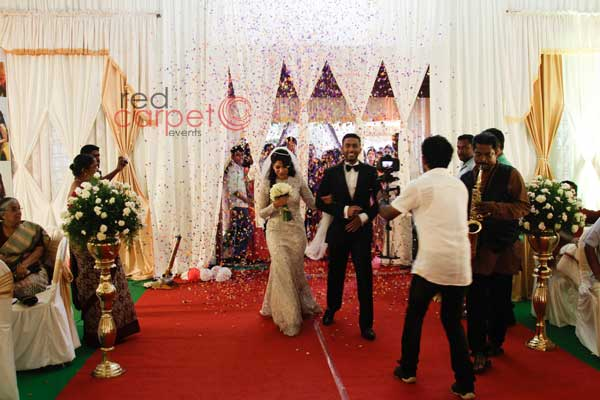Bride & groom fanfare entry -Christian wedding planning by Red Carpet Events at st.marys orthodox church  hall kallooppara  kottayam India Wedding Planning Gallery