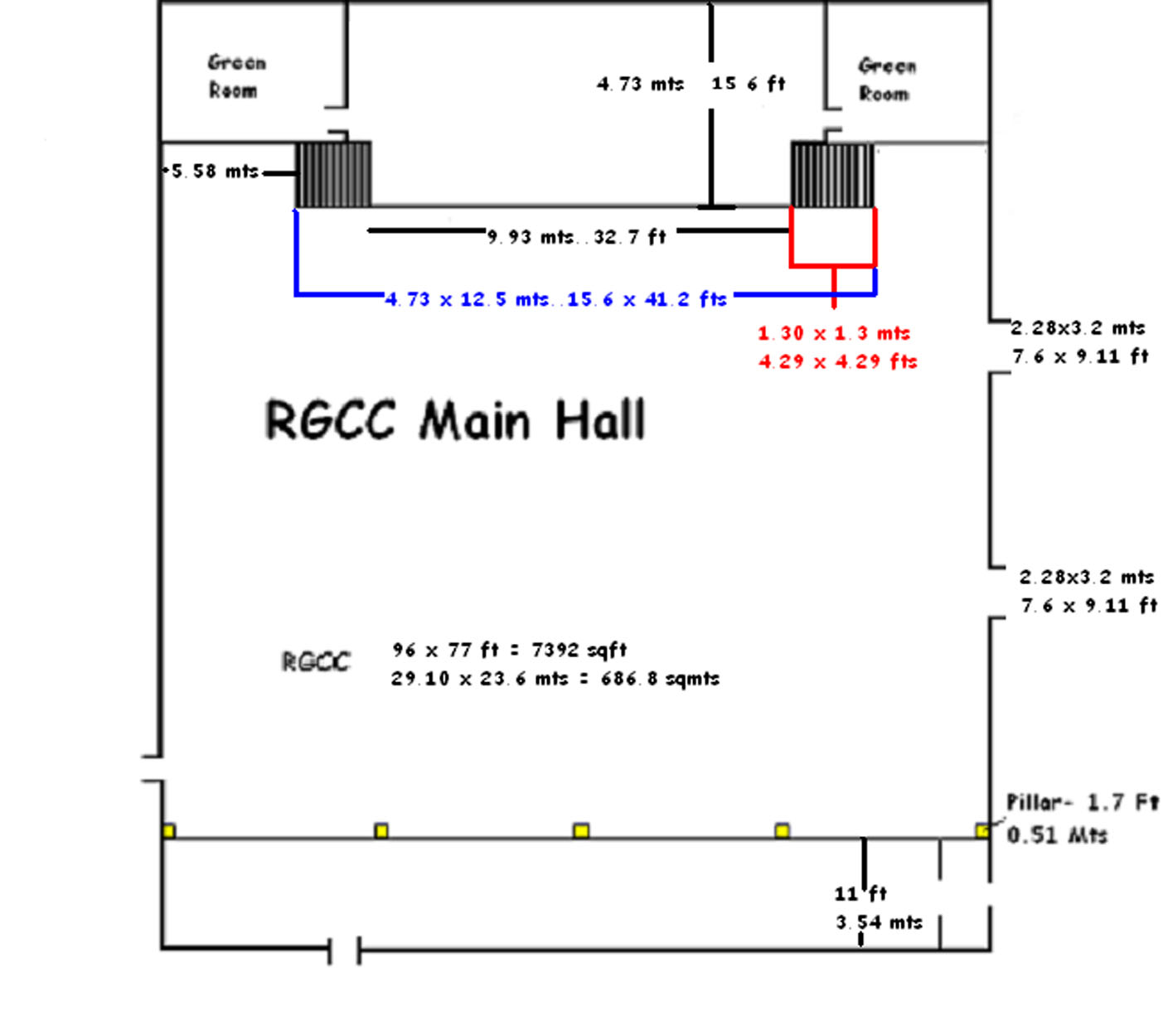The Leela Raviz facilities: RGCC Main Hall Dimensions